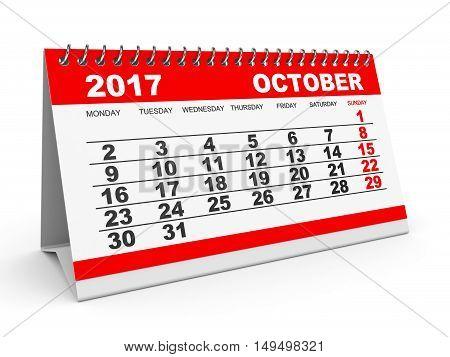 Calendar October 2017 On White Background.
