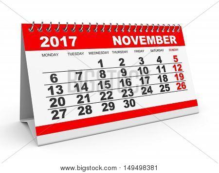 Calendar November 2017 On White Background.