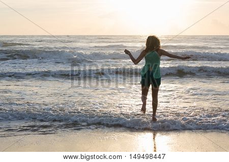 Woman Walking On The Sand Beach, Sunshine In The Morning, Summer Sea Holiday Background