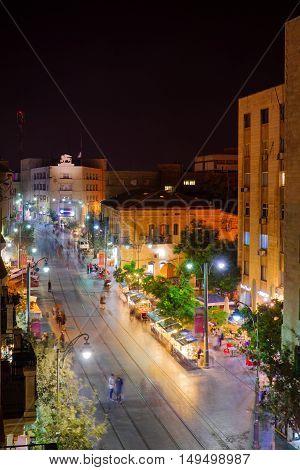 Night Scene Of Yafo Street, Jerusalem