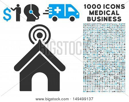 Telecom Office icon with 1000 medical commercial gray and blue vector pictograms. Design style is flat bicolor symbols white background.