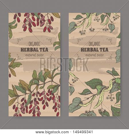 Set of two color vintage labels for linden and barberry herbal tea. Placed on cardboard texture.