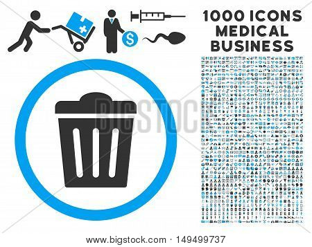 Trash Can icon with 1000 medical business gray and blue vector pictograms. Collection style is flat bicolor symbols white background.