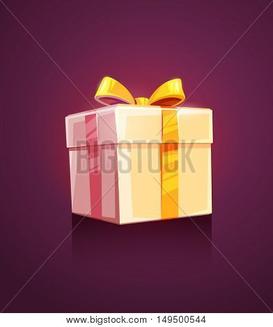 Christmas holiday gift grand box packing with golden ribbon and bow vector illustration