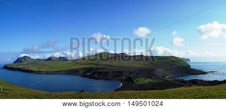 Panorama of Heimaey island Vestmannaeyjar archipelago Iceland