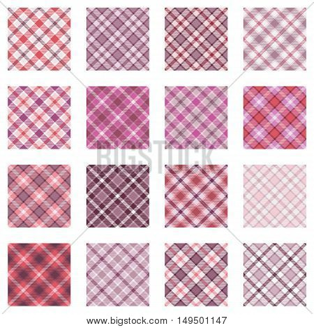 Plaid patterns collection, 16 seamless tartan patterns, different shades of pink