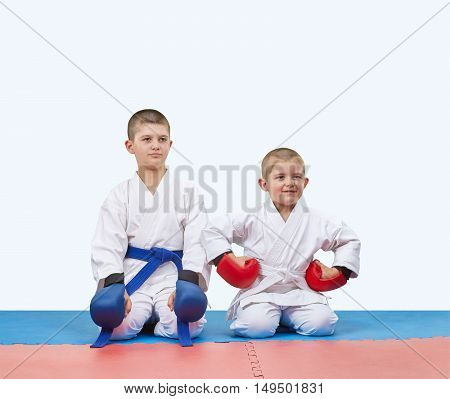 With overlays on the hands the athletes are sitting in a karate pose