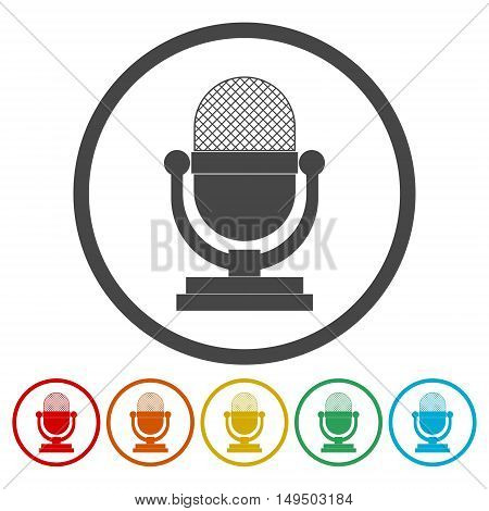 Microphone icon set , isolated on white background