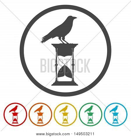 Hourglass and crow vector icon set on white background