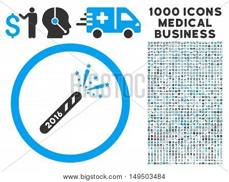 2016 Firecracker icon with 1000 medical business gray and blue glyph pictograms. Design style is flat bicolor symbols white background.