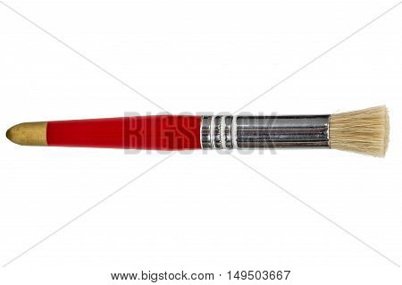 Paint brush with natural bristles isolated on white background
