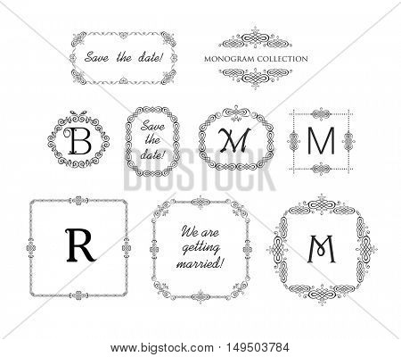 Vector set of decorative frames and vignette for wedding invitation, greeting card. Logo templates, vintage vector monogram, frames for menu card, restaurant, cafe, hotel, jewelry store