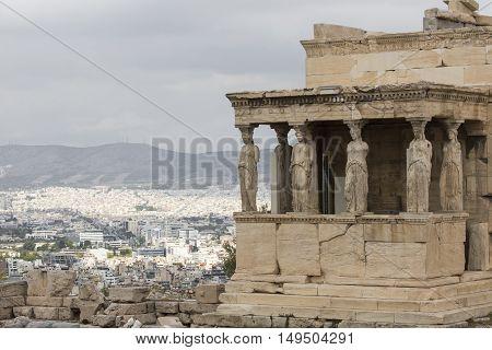 Athens - Greece - September 21,2016 : Caryatides At Acropolis, Athens, Greece