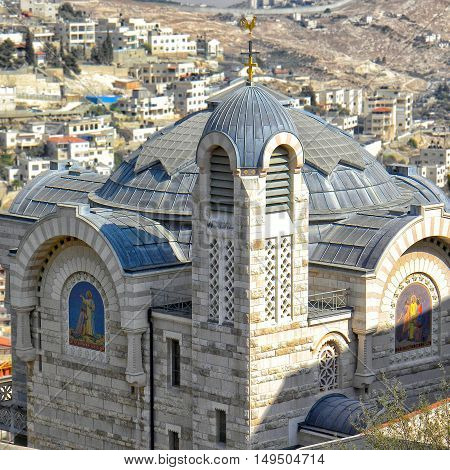 Top view on St. Peter in Gallicantu Monastery on Zion Mount in Jerusalem