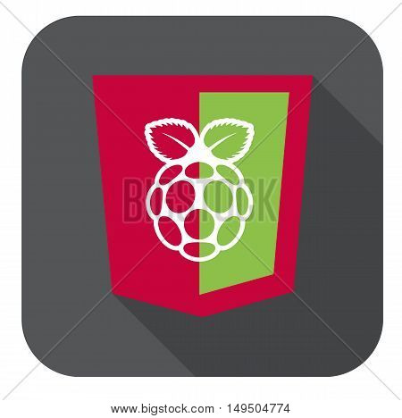vector illustration of red and green html5 shield with white raspberry shape, isolated web site development icon long shadow on white background