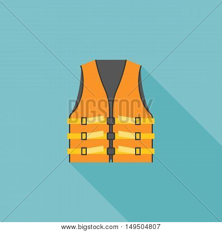 life vest icon, orange adult life vest jacket illustration vector, flat design