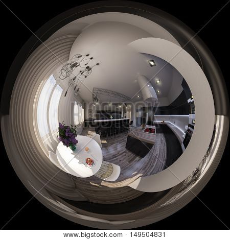 3d illustration spherical 360 degrees seamless panorama of living room interior design. The living room is made in grey and black tones in a modren style