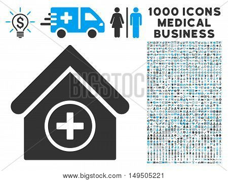Add Building icon with 1000 medical business gray and blue glyph design elements. Collection style is flat bicolor symbols white background.