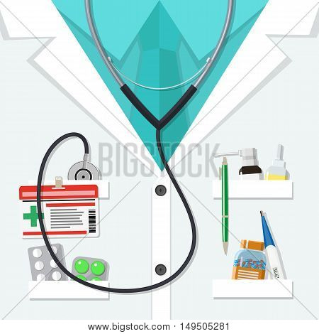 Background of white doctors suit with different pills and medical devices in pockets. vector illustration in flat style