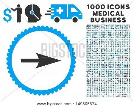 Arrow Axis X icon with 1000 medical commerce gray and blue glyph pictograms. Clipart style is flat bicolor symbols white background.
