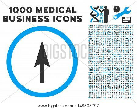 Arrow Axis Y icon with 1000 medical business gray and blue glyph pictograms. Set style is flat bicolor symbols white background.