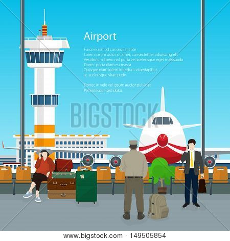 Waiting Room with People in Airport and Text, View on Airplane and Control Tower through the Window from a Waiting Room, Travel Concept, Flat Design ,Vector Illustration