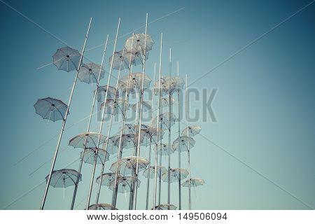 Thessaliniki - Greece - September 23, 2016 :unbrellas On The Boardwald On Thessaloniki Greece
