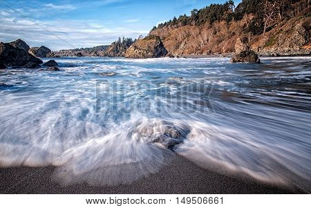 Beautiful Beach with Ocean Waves, Color Image