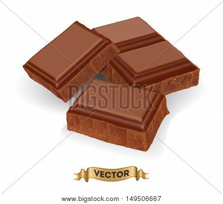 Realistic vector illustration of broken chocolate bar on white background