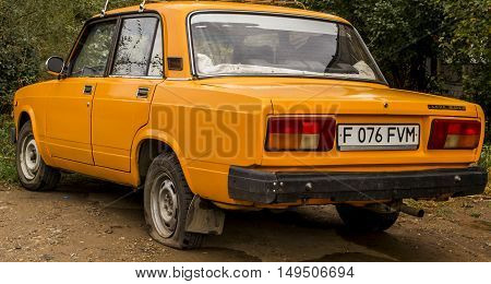 Kazakhstan, Ust-Kamenogorsk, september 28, 2016: lada, old soviet car in the street, retro car, old car, vintage car, zhiguli, sedan