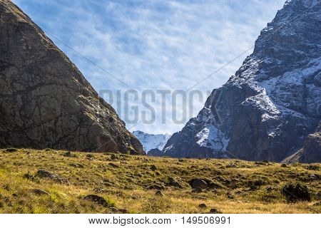 mountain landscape, gorge, slopes, wild nature, blue sky