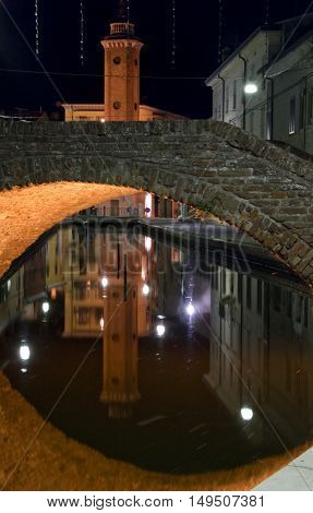 a beautiful night vision on Comacchio bridges.