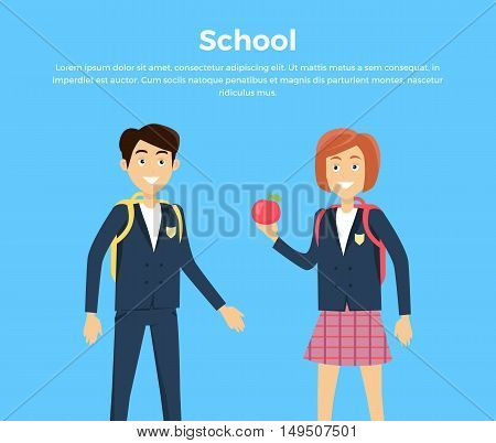 School concept vector. Flat design. Smiling pupils boy and girl with backpacks and apple standing on blue background. Picture for child learning years, students friendship illustrating.