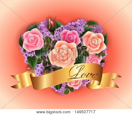 Illustration of valentines day card template with roses lilac flowers and golden ribbon