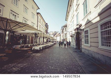 Ljubljana, Slovenia - September 24, 2016: Beautiful Street In Old City Centre Near The City Hall In