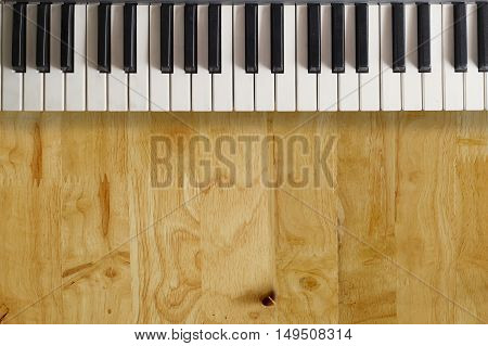piano keys on wood table  for composer concept.