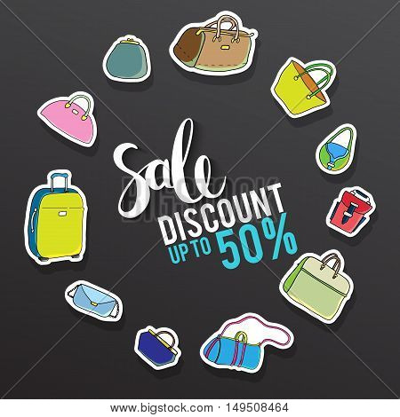 Sale and special offer. Black-and-white background, discounts, percent, sale. Vector illustration