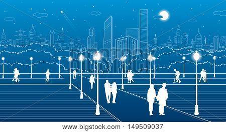 City scene, people walk on the square, city's skyline on background, street life, night town, vector design art