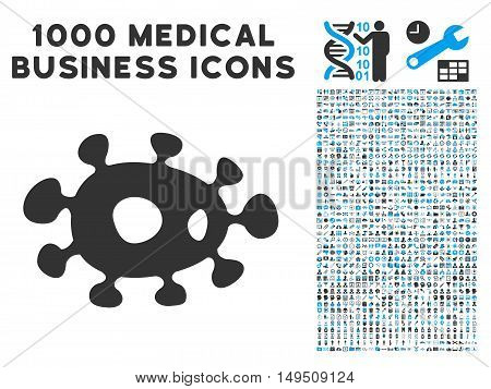 Bacteria icon with 1000 medical commerce gray and blue glyph pictograms. Collection style is flat bicolor symbols white background.