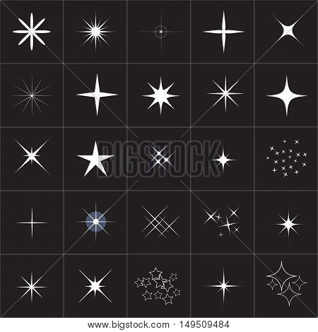 Big collection of sparkle vector. Sparkle stars.