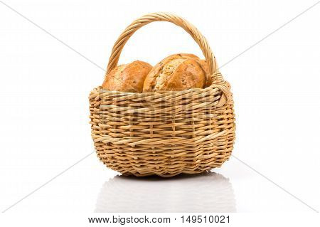 Bread In Wicker Basket Isolated On White