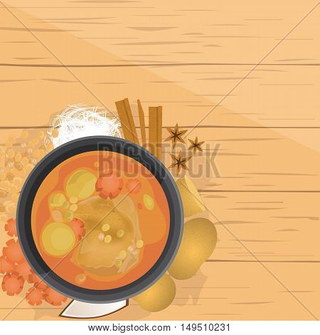 vector illustration design of Thai food Mussaman kaiThai Chicken Mussaman curry with ingredients top view