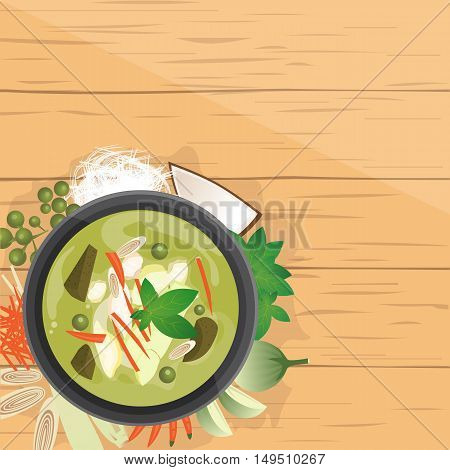 vector illustration design of Thai food Gang Kiew Wan Thai green curry in coconut milk ingredients top view