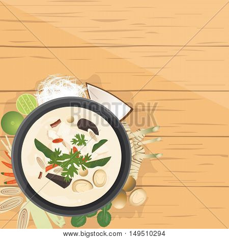 vector illustration design of Asian food Tom Kha Gai Thai Chicken soup in coconut milk with ingredients top view