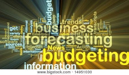 Word cloud tags concept illustration of financial budgeting glowing light effect