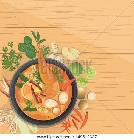 vector illustration design of Tom Yam Goong Asian food Thai dish ingredients top view