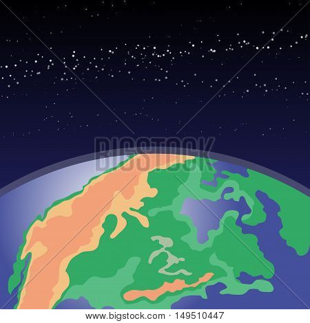 Earth in outer space. Cosmic background with Earth. Planet in universe, Realistic vector.
