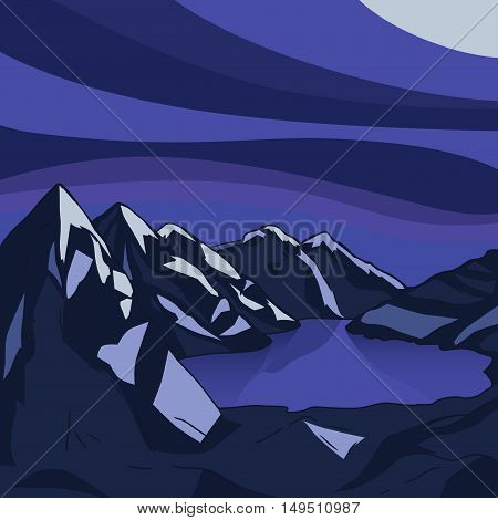 Night mountain landscape. Glacial lake. North landscape. Vector modern illustration