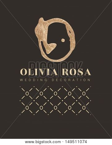 Luxury logo with a stylized letter O on a black background . letter with glitter. Handmade brush trace. The sign for a beauty salon, boutique, shop. With elements of the pattern.