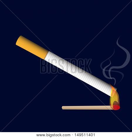 Isolated Classical Cigarette With Burning Match Flame Realistic Smoke Vector Illustration